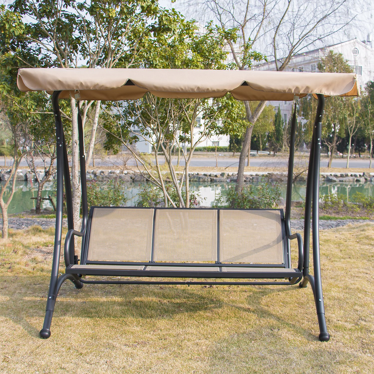 Silverylake Outdoor Swing Chair Bench Canopy Hammock Seats 3 Person Patio Deck Furniture Cushions Weather Resistant