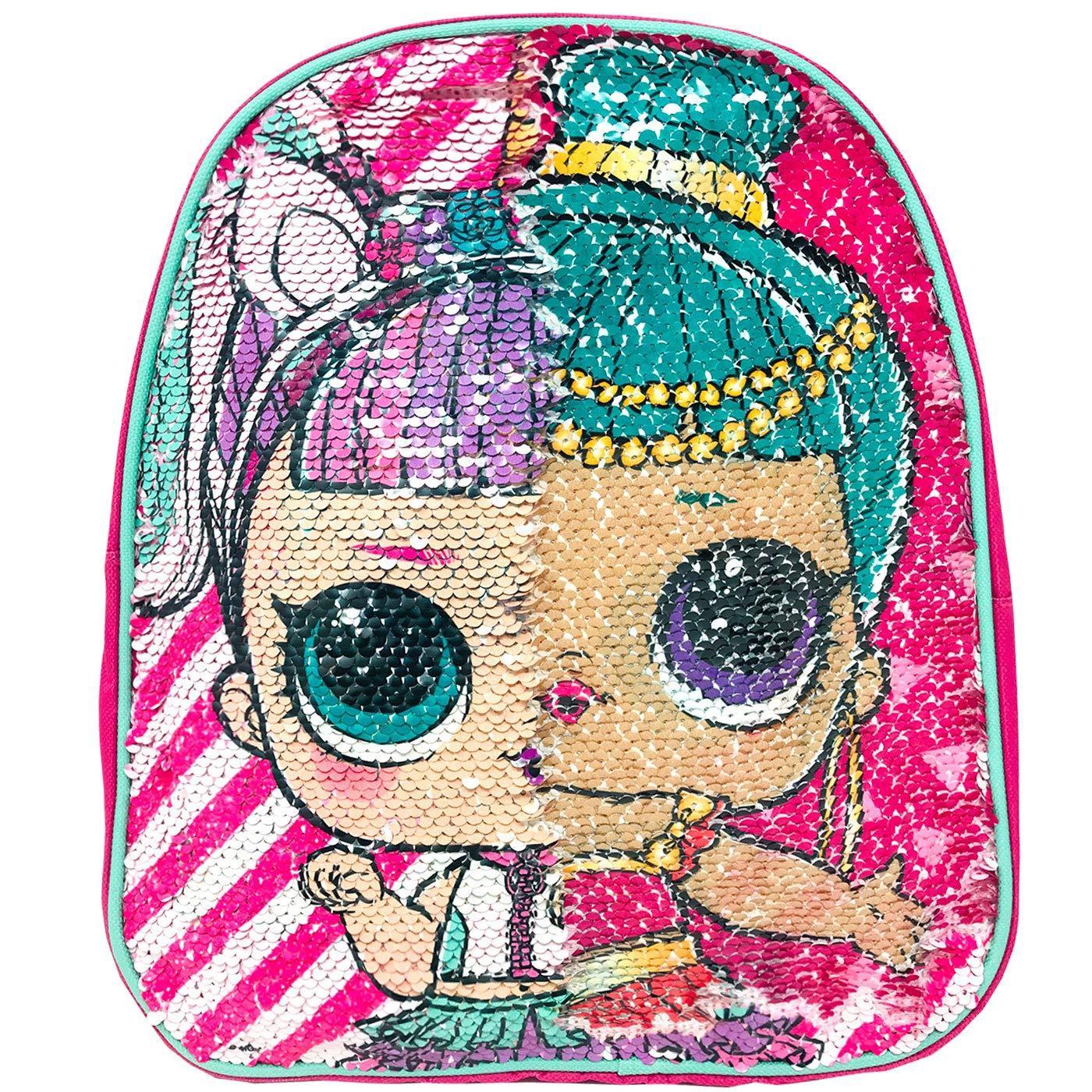 Mochila LOL Surprise Ni/ña Mochila Escolar Rosa Mochila Infantil con Lentejuelas Reversibles Doble Imagen LOL Surprise 33cm