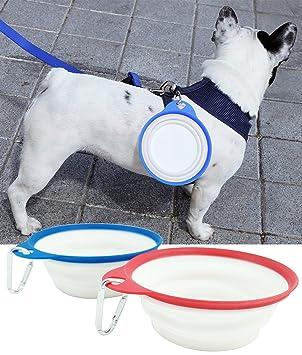 BPS® Comedero / Bebedero para Perros Gatos Mascotas de Viaje Portátil Plegable Expandible Diámetro: