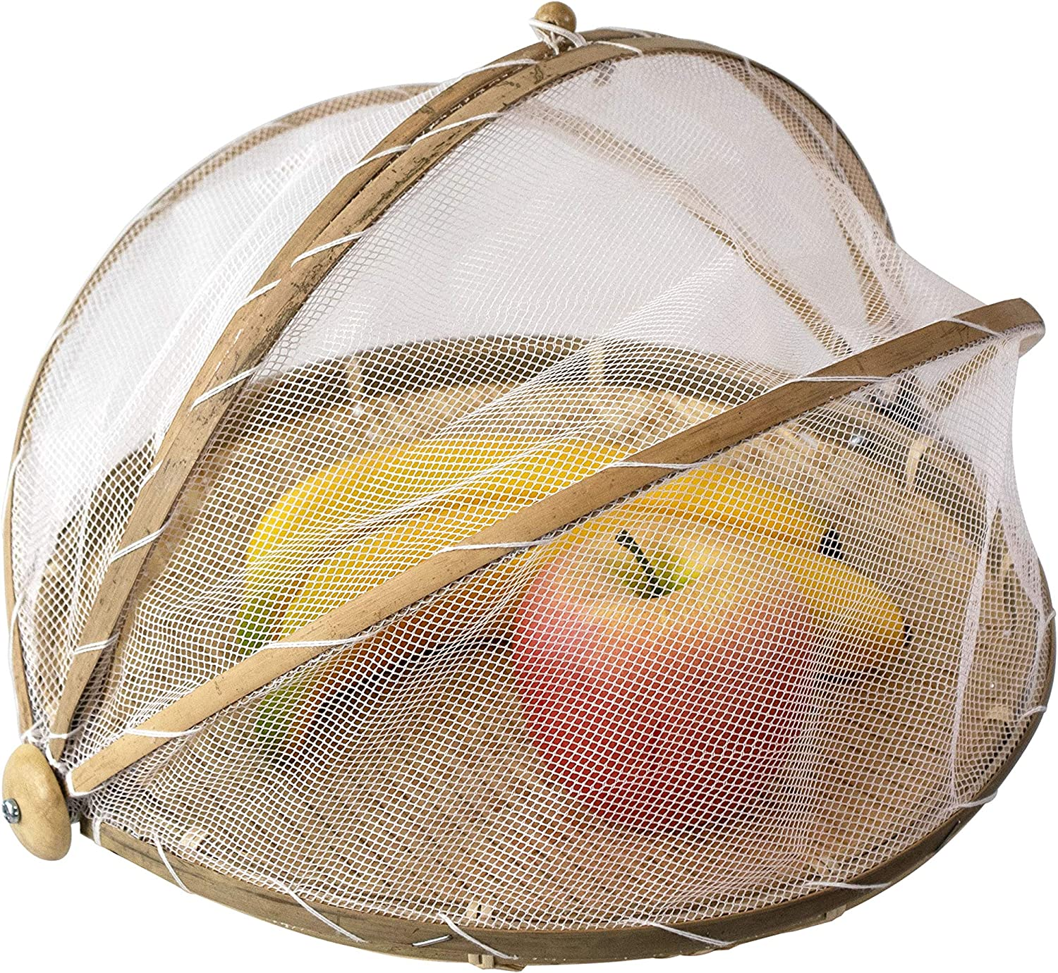 Bamboo Woven Round Food Tent and Plate Serving Cover | Wicker Fruit Vegetable Bread Mesh Cover Storage Container for Dining Outdoor Picnic to Keep Out Flies, Bugs, Mosquitoes