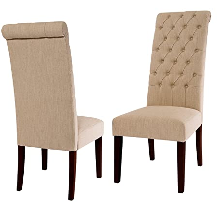 Christopher Knight Home 218856 Cooper Tall Back Natural Fabric Dining Chairs Set of 2 Beige