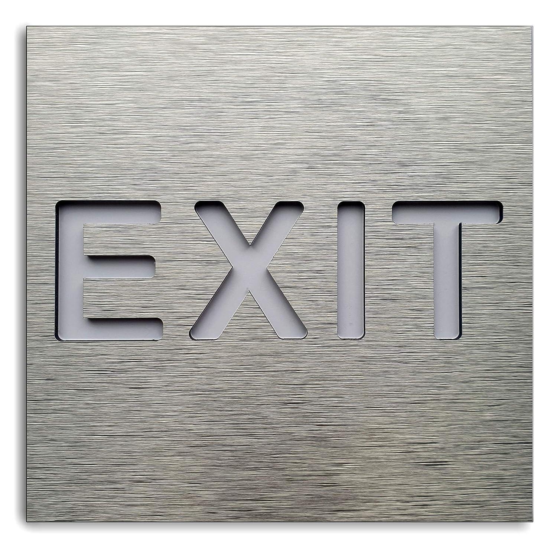 Exit Here Cartello di Uscita in Alluminio per Porta//Parete Decalcomania per Via d/'Uscita BSYDESIGN Adesivo per Interni ed Esterni Targa Moderna per Porta di Emergenza
