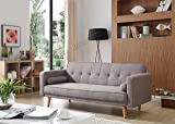 WestWood Fabric Sofa Bed Recliner Couch 3 Seater With 2 Modern Cushions Luxury Home Furniture Click Clack Mechanism Grey FSB04 New