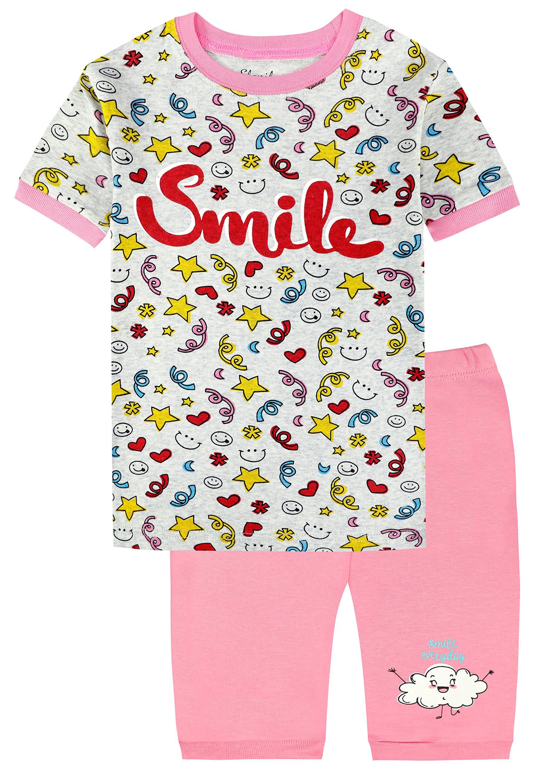 Slenily Girls Short Pajamas Toddler Kids Pjs 100% Cotton Sleepwear Summer Clothes Shirts Size 10