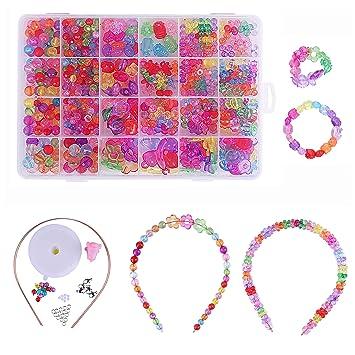 Qh Shop Kette Basteln Kinder Set Kinder Diy Armband 24 Fächer Farbe Kunststoff Stringing Perlen In Pvc Box Zum Basteln Von Schmuck Ketten Armbändern