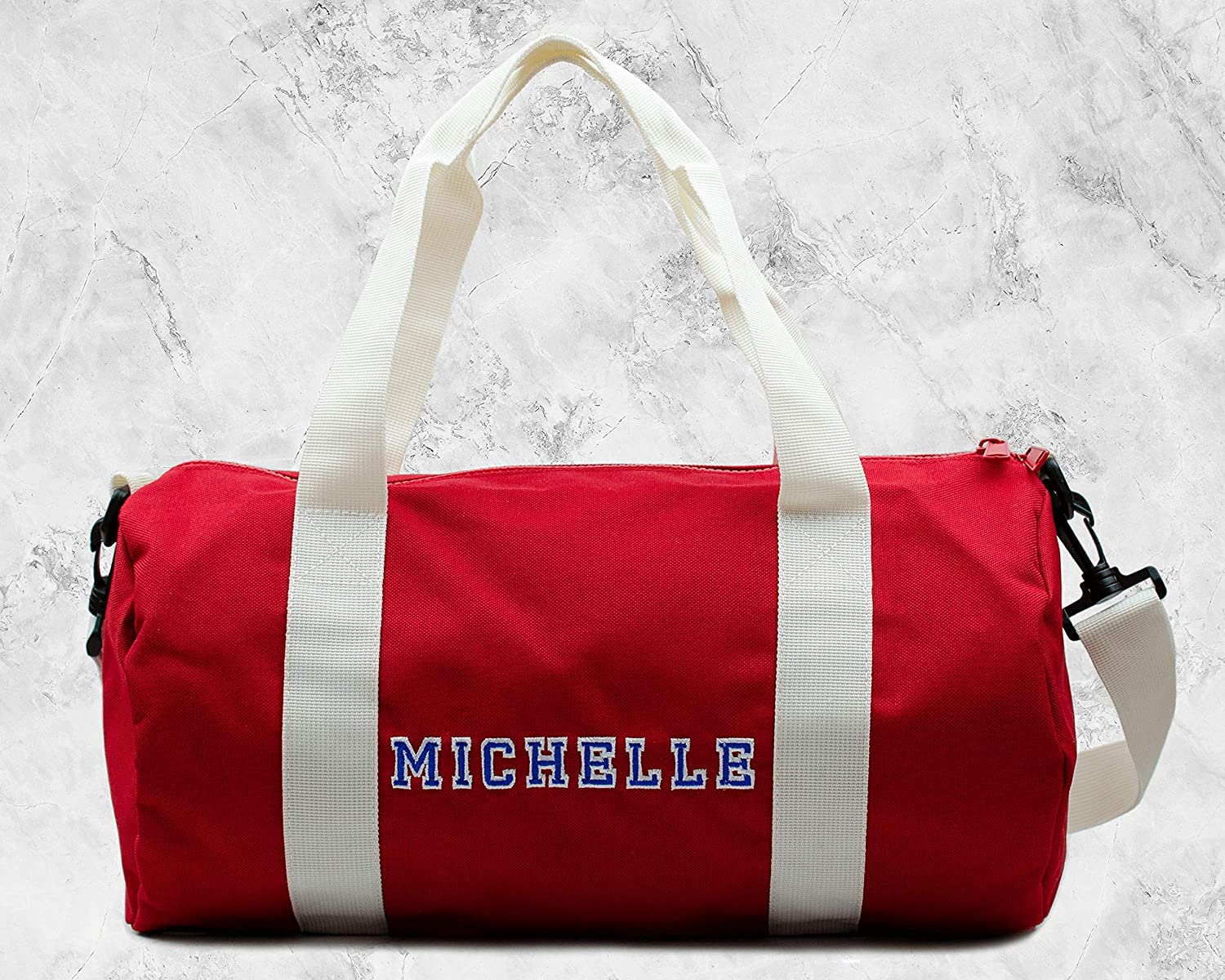 Personalised Embroidered Red /& White Gym Gift Set of White Sports Towel and Red Mini Barrel Duffle Bag