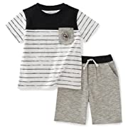 Calvin Klein Baby Boys' 2 Pieces Tee Set-Marled Shorts, Black, 12M