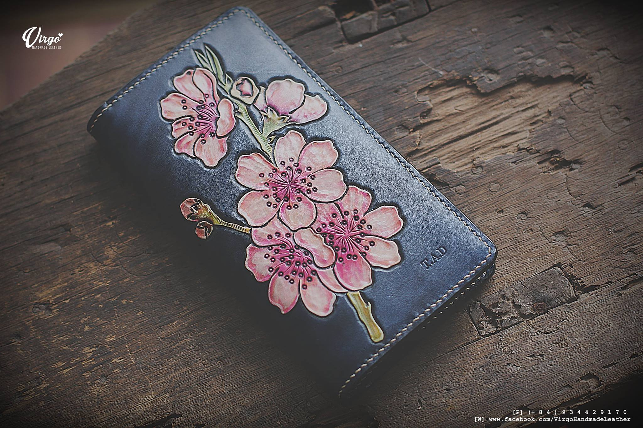 Blossom hand tooled long wallet for women | Personalized Vintage vegetable tanned leather handmade wallet