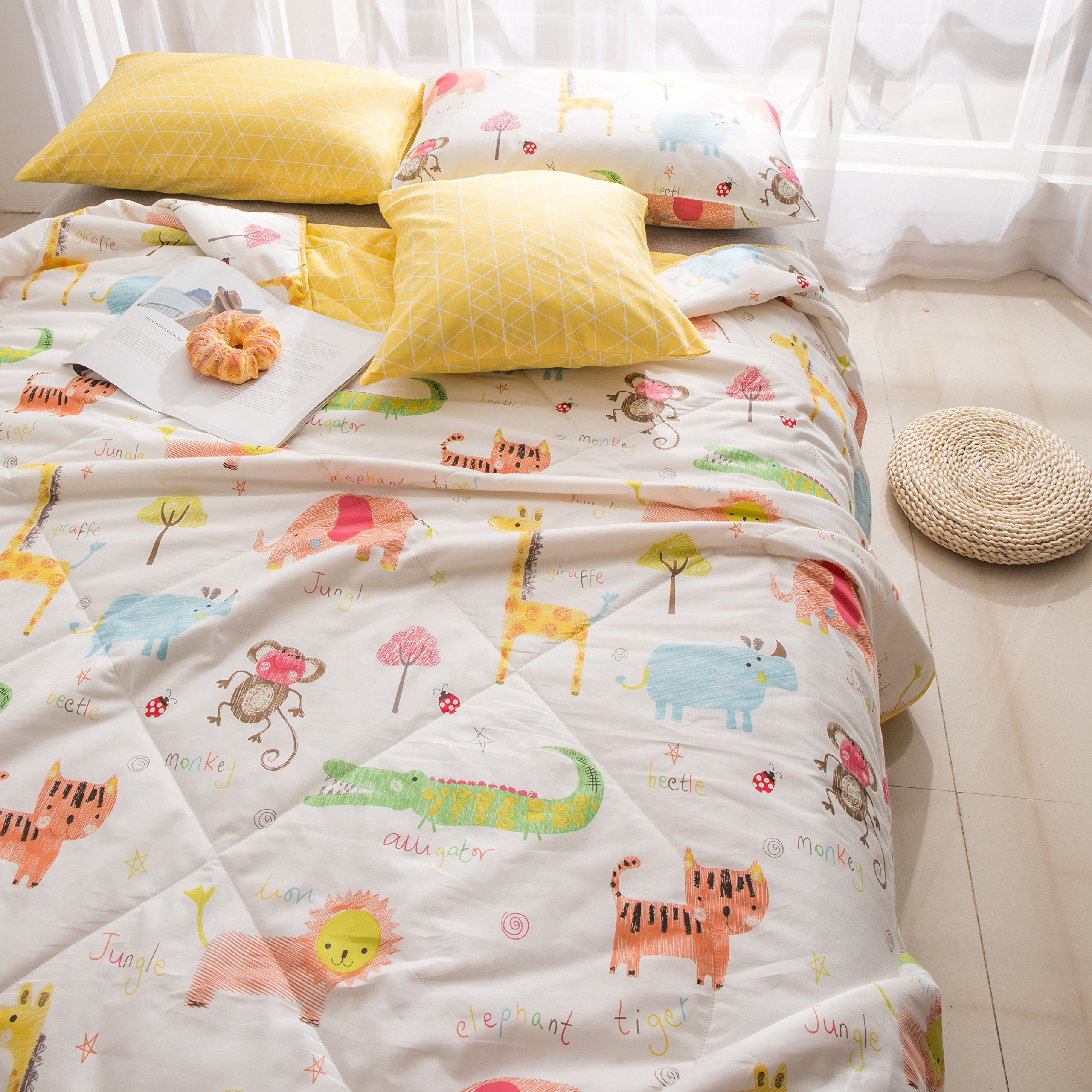 J-pinno Jungle Tiger Elephant Monkey Printed Quilted Comforter Twin Blanket for Kids Bedding (Twin, 22) by J-pinno (Image #2)