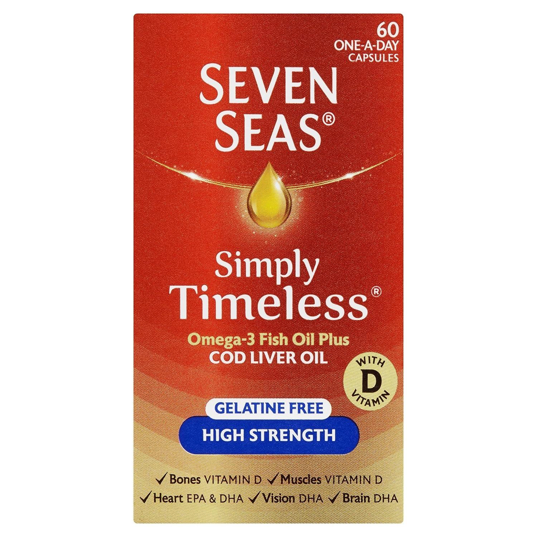 Seven Seas Pure Cod Liver Oil High Strength With Omega 3 Plus Vitamins D & E 60 Capsules