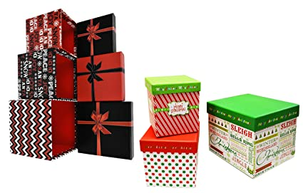 alef set of 6 elegant decorative holiday themed nesting gift boxes 3 boxes nesting