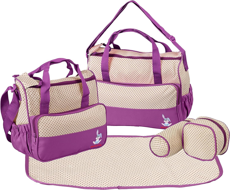 Mummy Hug/® Bolso cambiador de pa/ñales con cambiador multifunci/ón de 5 piezas beige morado