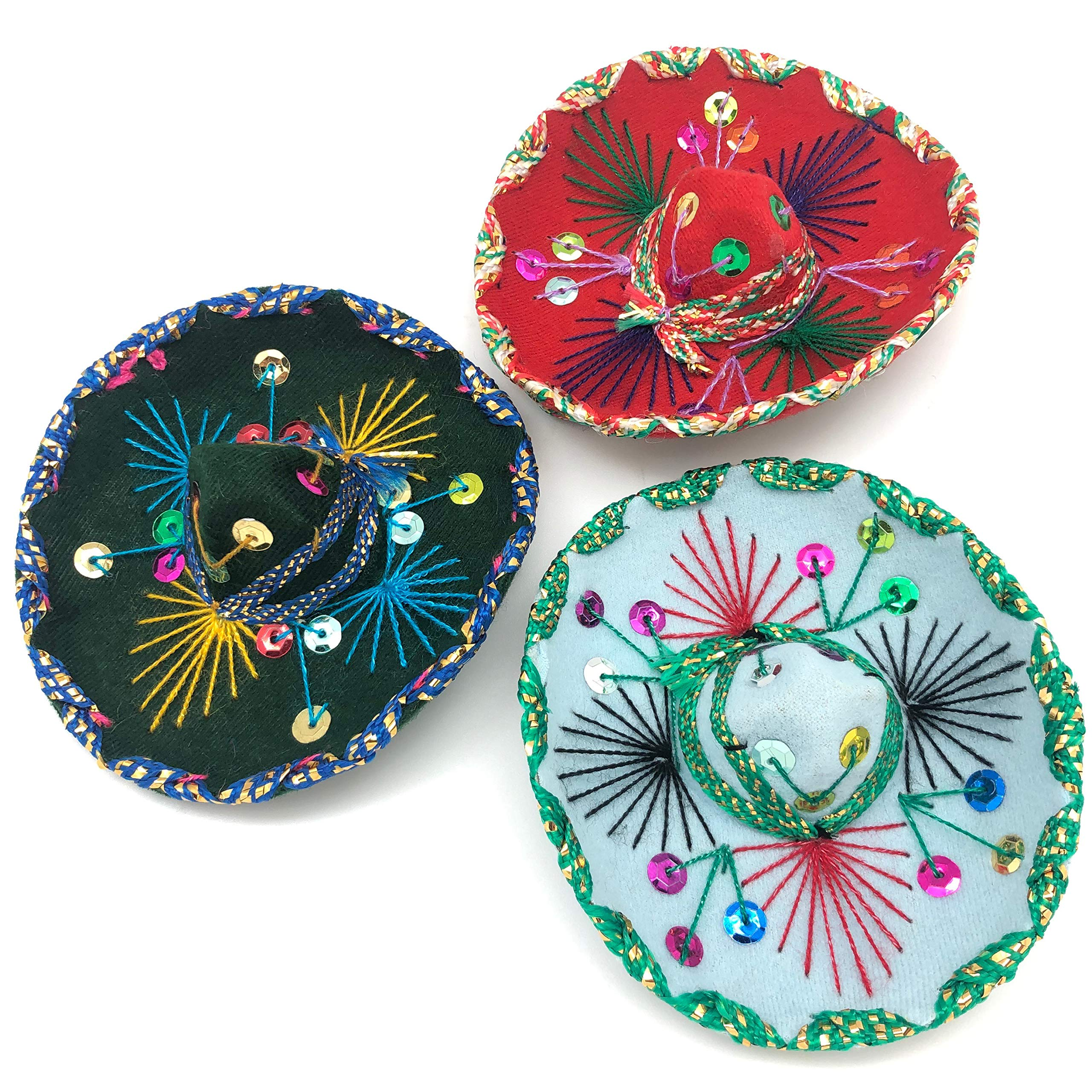 YAJUA Mariachi Mexican Mini Sombrero 5in, for Mexican Themed Party or Small Dog or Cat Hat (Assorted Set of 3)