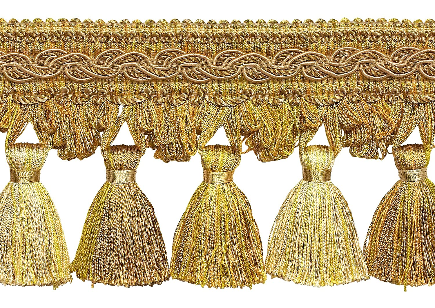 Two Tone Gold 4 Baroque Tassel Fringe Style# TFB1 Color: GOLD MEDLEY - 8633 (Sold by The Yard) DecoPro