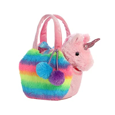 Aurora World Fancy Pals Pet Unicorn Carrier Plush, Rainbow: Toys & Games