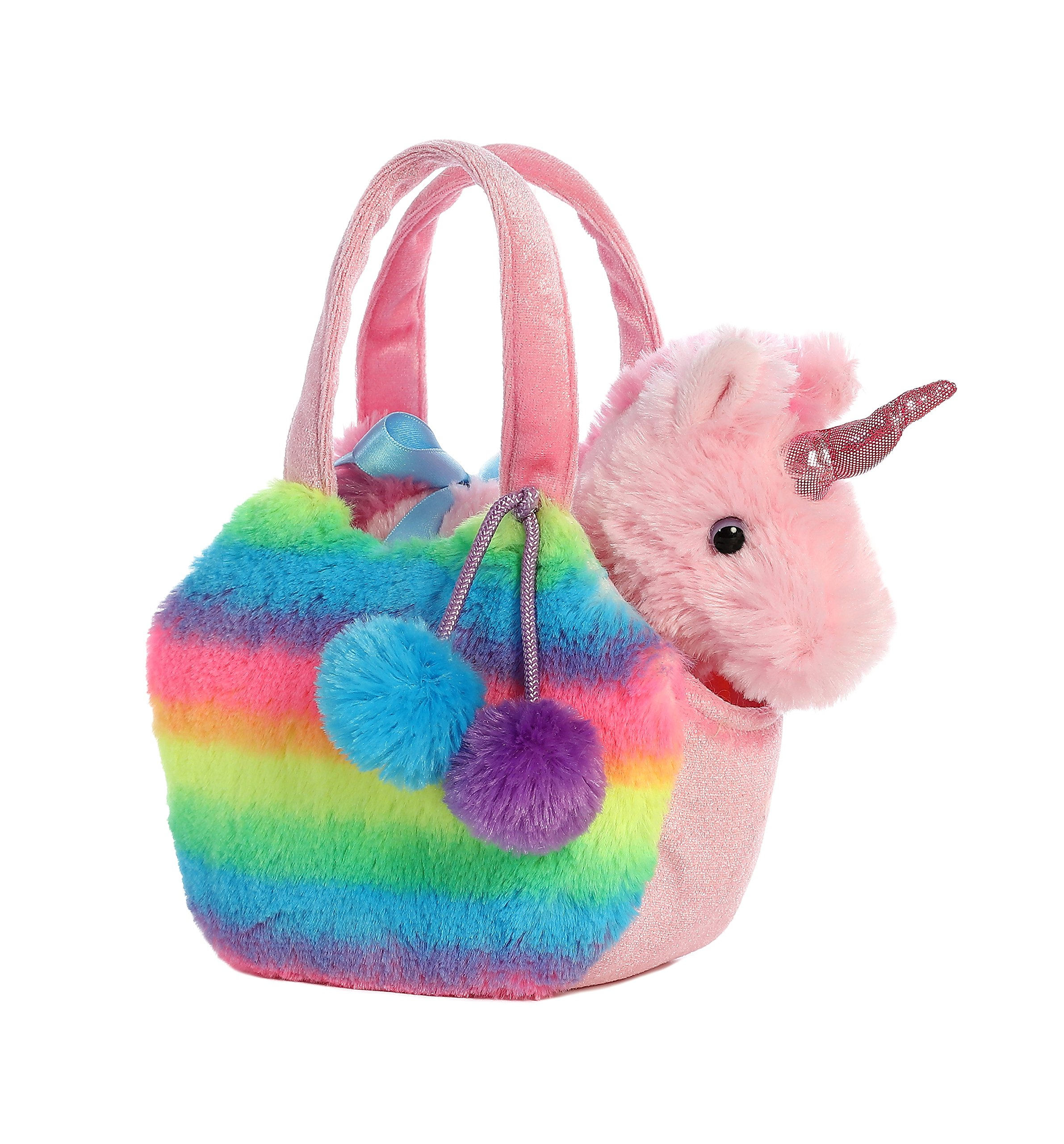 Aurora World Fancy Pals Pet Unicorn Carrier Plush, Rainbow 3