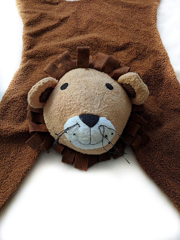 Small Merakkii Lion Rug Plush Lion Rug Children Wild Themed Nursery Rug Decorative Soft Lion Plush