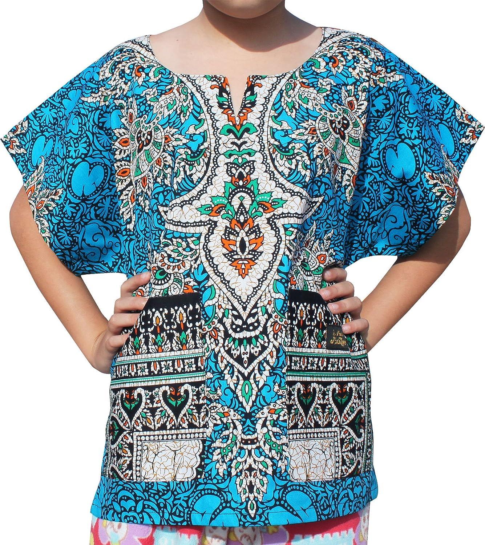 RaanPahMuang Bright Kaftan Boubou Africa Short Sleeve Childs Unisex Shirt