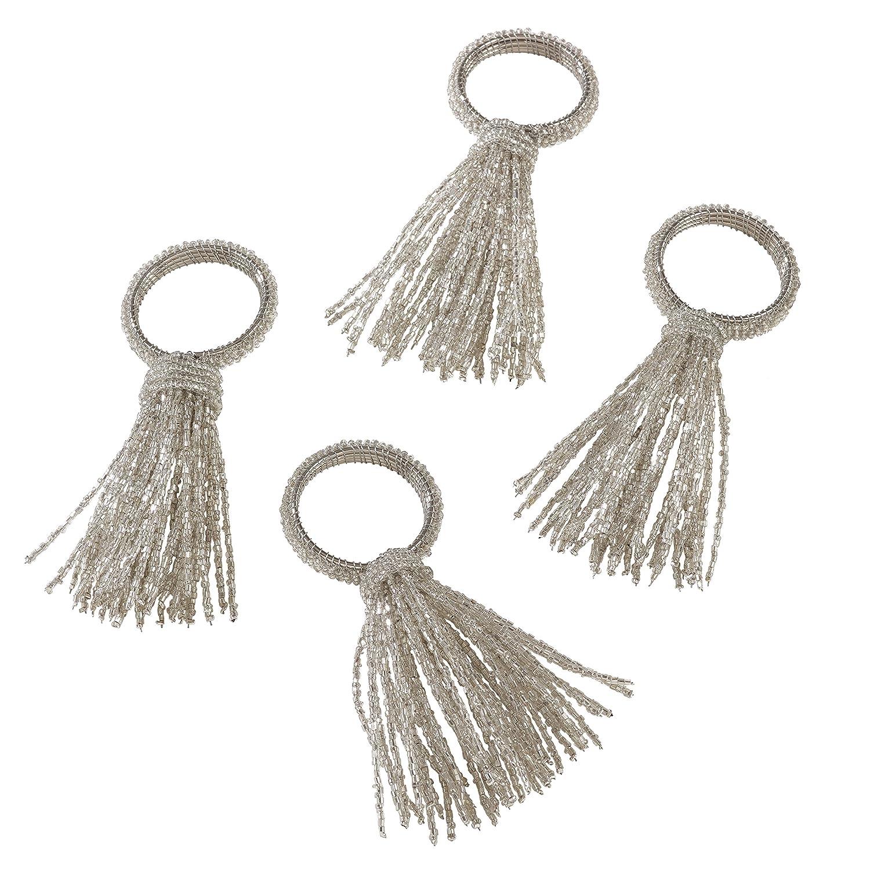 2.5 x 3.5 Silver 2.5 x 3.5 NR602.S SARO LIFESTYLE Beaded Spray Design Napkin Ring-Set of 4