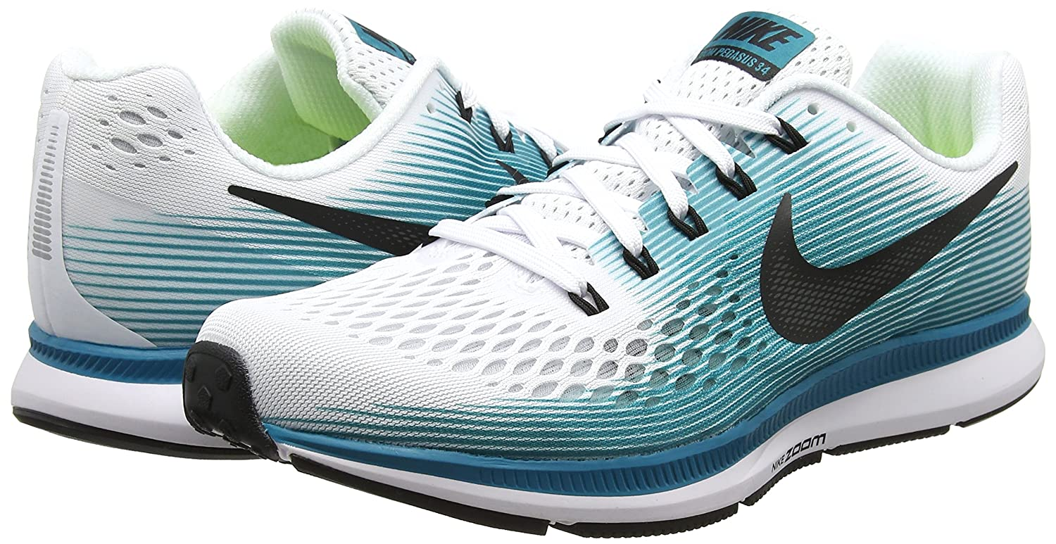 hot sale online 749f9 08340 Nike Men s Air Zoom Pegasus 34 White Black - Blustery 880555-101 (13)  Buy  Online at Low Prices in India - Amazon.in