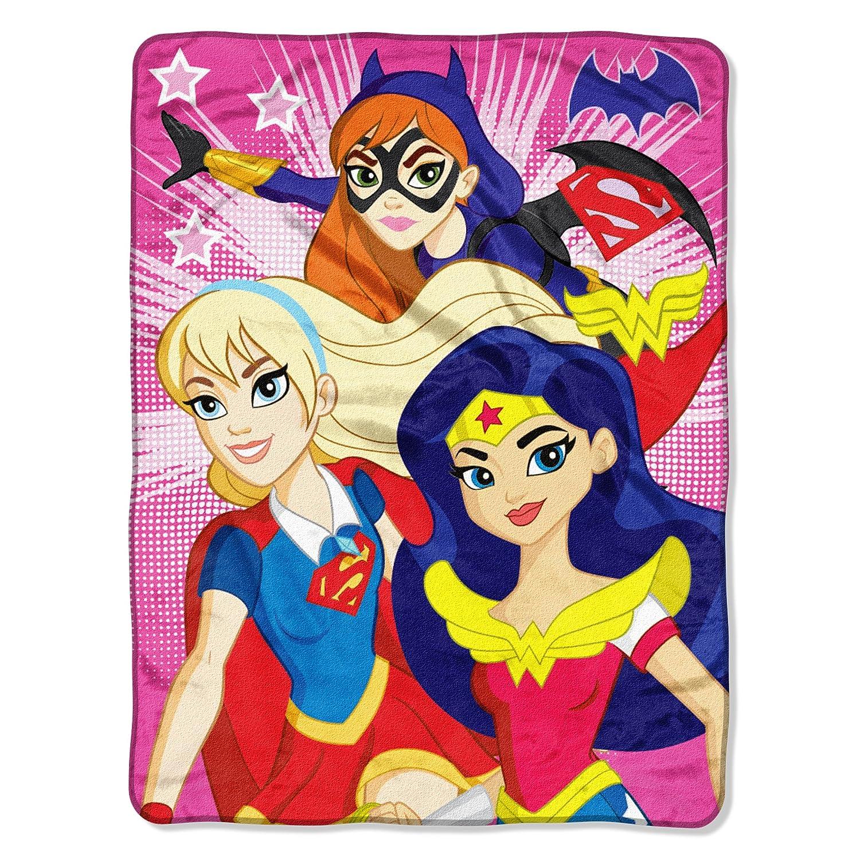 Warner Brothers DC Comics Super Hero Girls, Look Sharp Micro Raschel Throw Blanket, 46