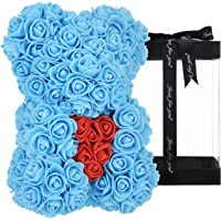 "Rose Bear Blue with Heart 10"" - Luxury Rose Teddy Bear Rose Bears for Valentines The Rose Bear Teddy Bear Cub Forever…"
