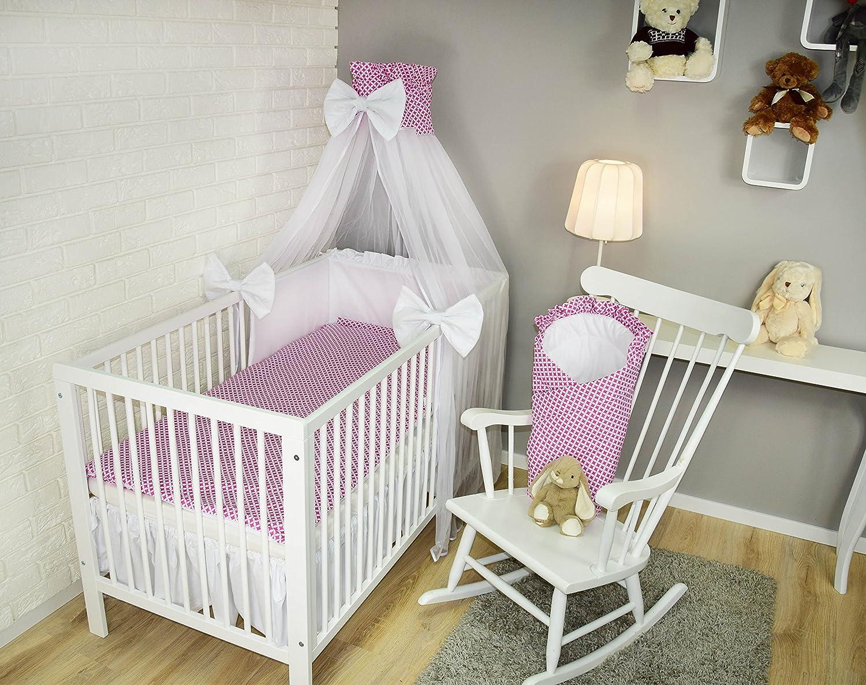 Amilian/® Baby Bettw/äsche 5tlg Bettset mit Nestchen Kinderbettw/äsche Himmel 100x135cm Schaf Ecru Chiffonhimmel