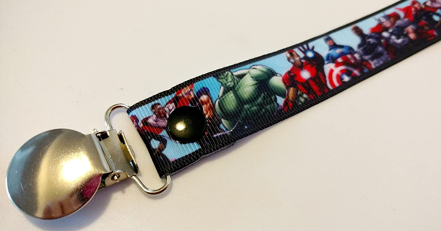 Avengers Super Hero pacifier clip binky soother strap