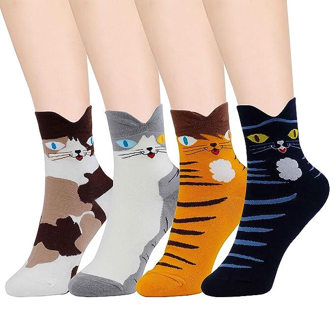 HONGXIN-SHOP Calcetines de Mujer Coloreados Algodón Calcetines Patrón de Gato Adulto Unisex Calcetines Térmicos 4 Pairs: Amazon.es: Ropa y accesorios