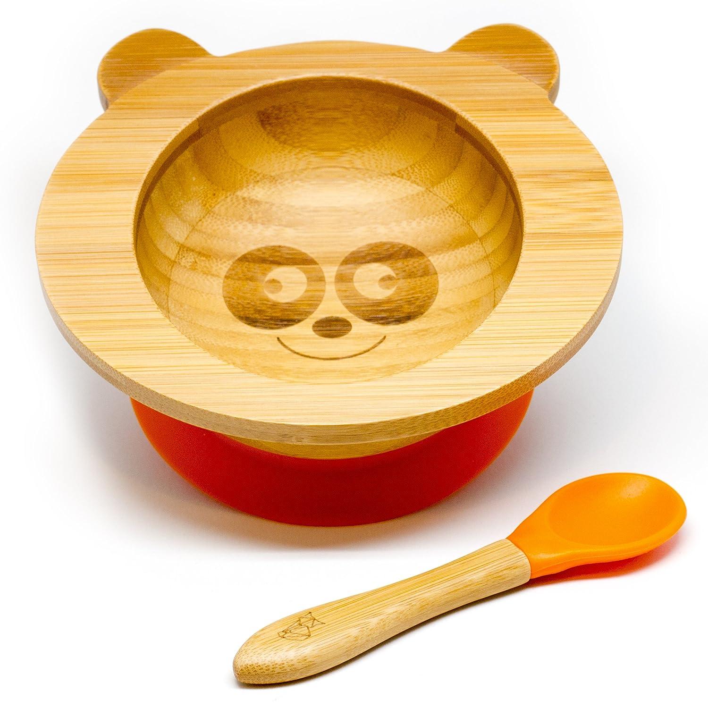 Cuenco de bambú de KleinerFuchs con ventosa antideslizante y cuchara para bebé a juego de alta calidad disponible en distintos motivos de animales naranja panda