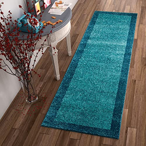 Well Woven Frontier Border Blue Modern Plain 2×7 2 3 x 7 3 Runner Area Rug Simple Geometric Pattern Contemporary Thick Soft Plush