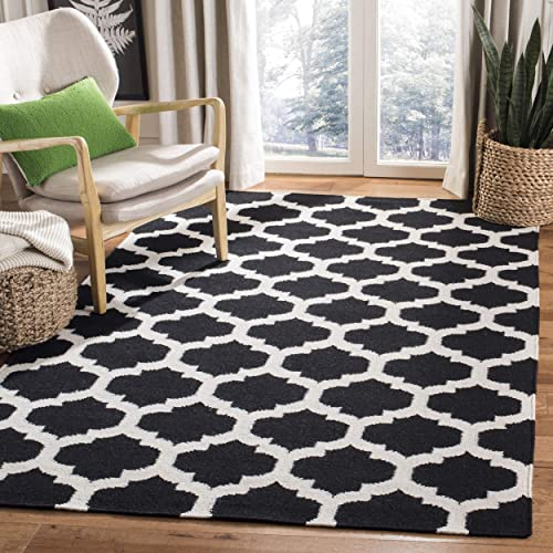 Safavieh Dhurries Collection DHU623A Hand Woven Black and Ivory Premium Wool Area Rug 4 x 6
