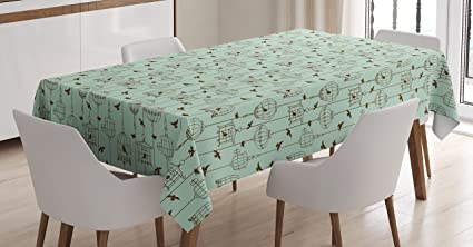 Awesome Amazon Com Ambesonne Vintage Tablecloth Pattern With Birds Onthecornerstone Fun Painted Chair Ideas Images Onthecornerstoneorg