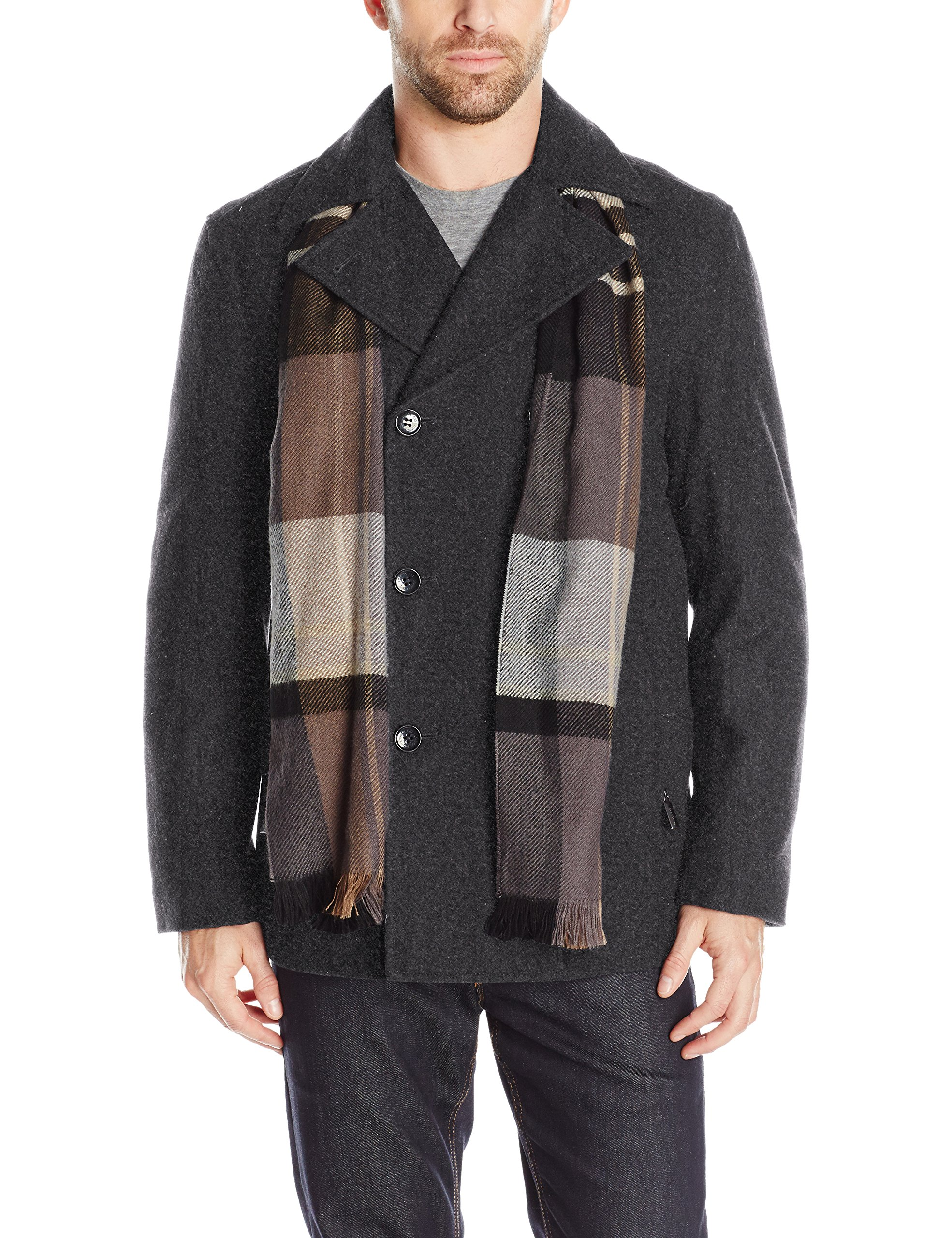 London Fog Men's Wool Blend Double Breasted Pea Coat, New Charcoal, S by London Fog