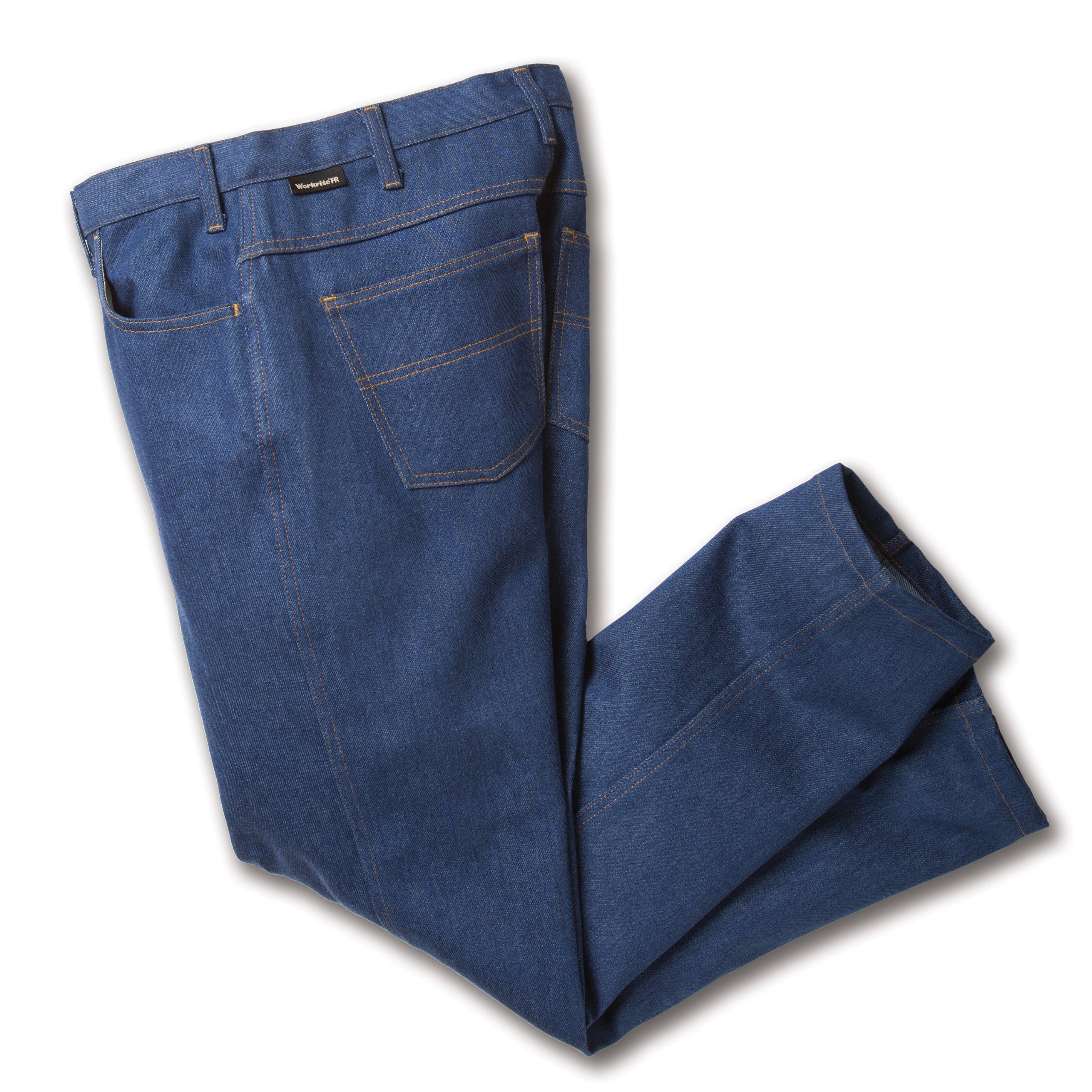 Workrite 418ID14DN46-34 Flame Resistant 14 oz Indura Jean-Cut Pant, 46 Waist Size, 34 Inseam, Denim