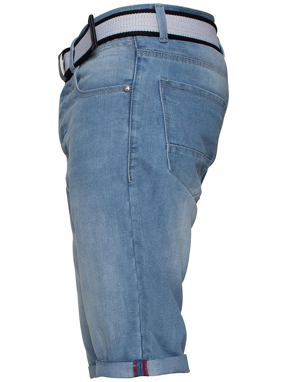 APT Mens Dark Blue Slim Fit Cotton Denim Shorts Free Belt All Waist Sizes