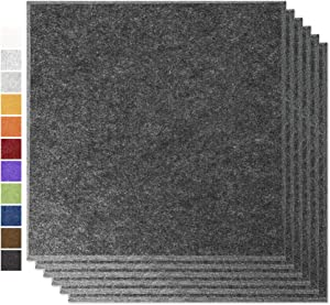 """BUBOS Professional Acoustic Panels,Acoustic Absorption Panel,Sound Proof Padding,Suitable for Acoustic Treatment and Noise Reduction,Beveled Edge,6 Pcs,12""""x12""""x0.4"""",Dark Gray"""