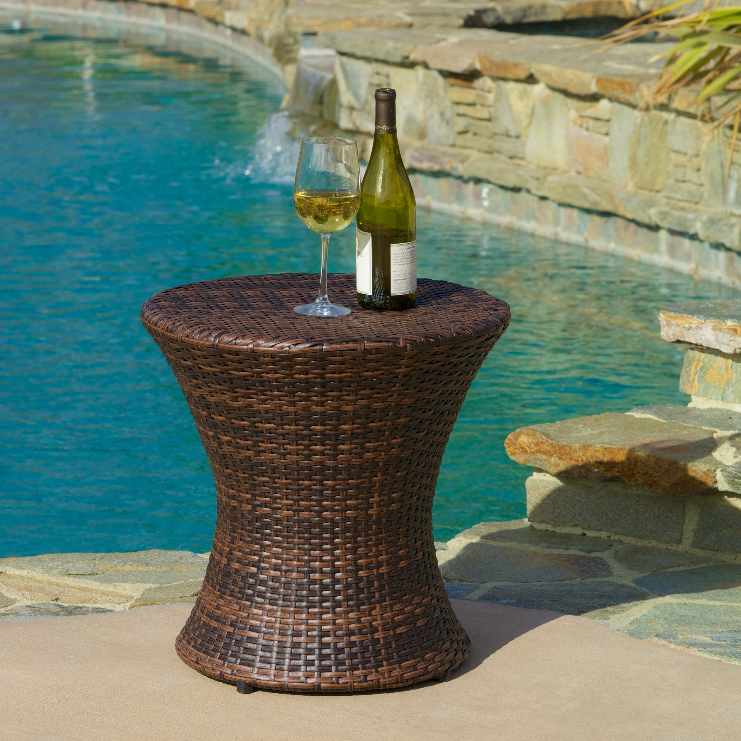 Townsgate Outdoor Brown Wicker Hourglass Side Table by Christopher Knight Home