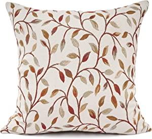 YOUR SMILE Classical Embroidery Jacquard Beige Leaf Pattern Square Decorative Throw Pillow Case Cushion Cover 18 x 18 inch