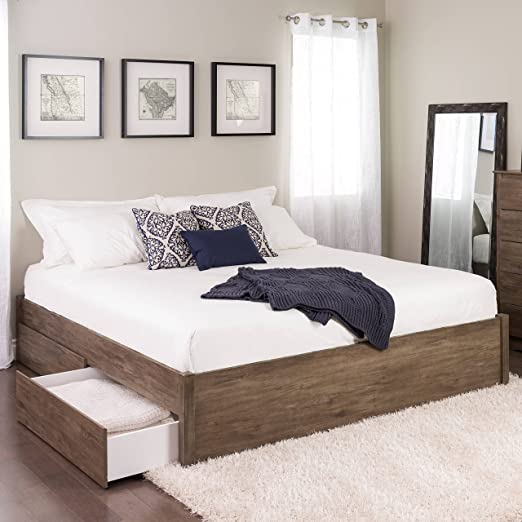 King Select 4 Post Platform Bed With 4 Drawers Drifted Gray Furniture Decor