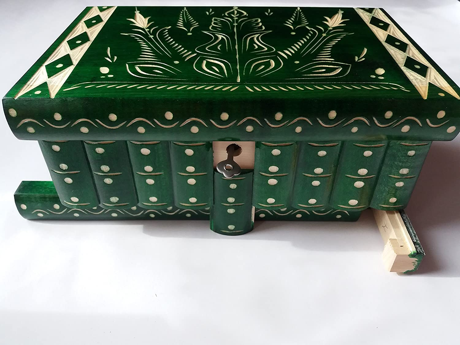 Huge puzzle box magic jewelry box premium treasure gift new very big box green handmade mystery case carved wooden storage brain teaser
