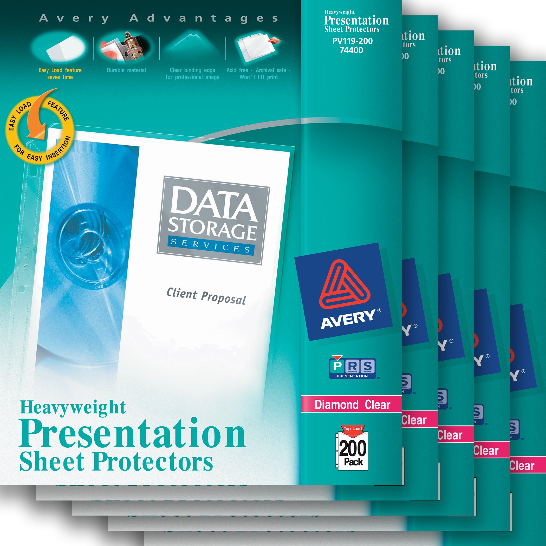 Avery Diamond Clear Heavyweight Sheet Protectors, Acid Free, 200 Sheets per Pack, Case Pack of 5 (74400)
