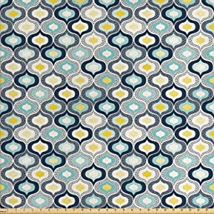Ambesonne Modern Fabric by The Yard, Geometric Morrocan Mediterrain Style Dots Ornamental Details Image Print, Decorative Fabric for Upholstery and Home Accents, 1 Yard, White Blue
