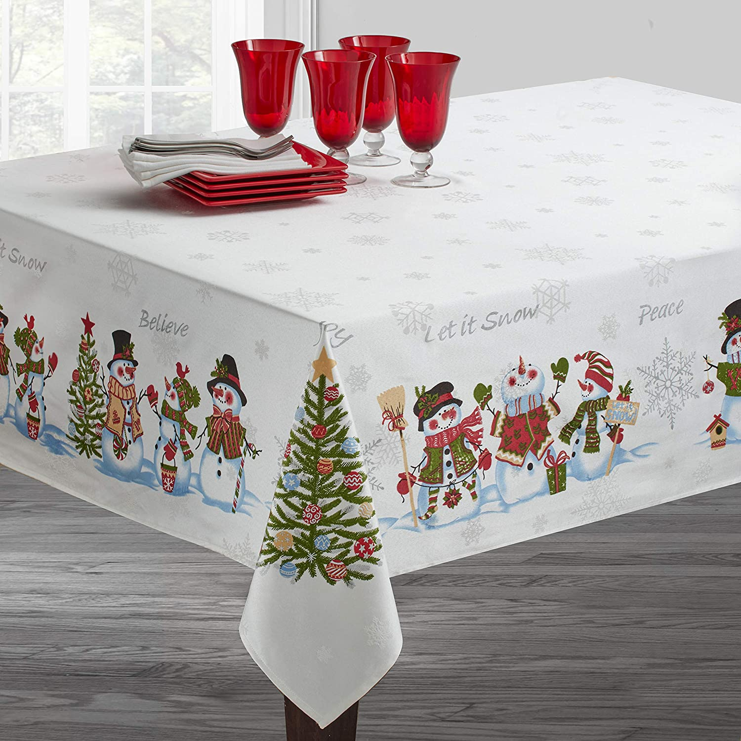 "Benson Mills Believe Snowman Engineered Printed Tablecloth for Winter and Christmas (60"" x 120"" Rectangular, Believe Snowman)"
