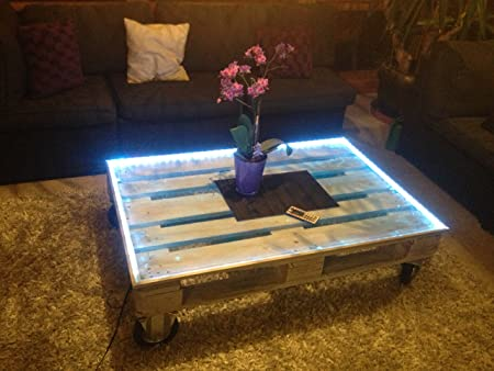 Palettentisch With Wheels Upcycling Glass And Led Illumination