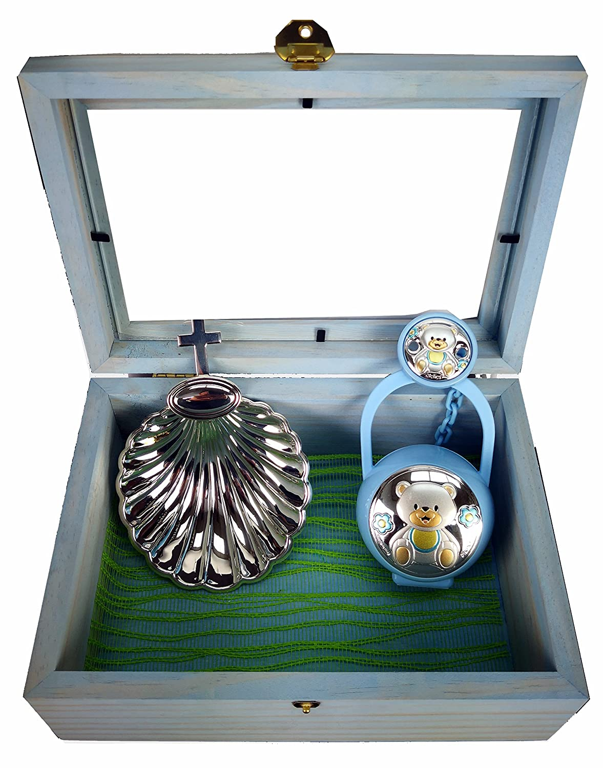 Jewellery box Baptism Clamshell Silver Laminated Cross 10/x 11/Porta Pacifier and Chain