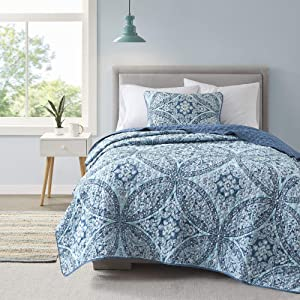 Comfort Spaces Reversible Quilt Set-Double Sided Vermicelli Stitching Design All Season, Lightweight, Coverlet Bedspread Bedding, Matching Shams, Twin/Twin XL(66