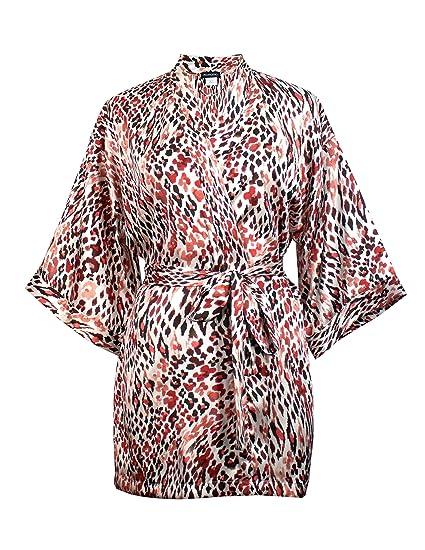 momomio Short Silk Satin Robe for Women Floral Animal Print Loungewear  Sleepwear (S 32643960b