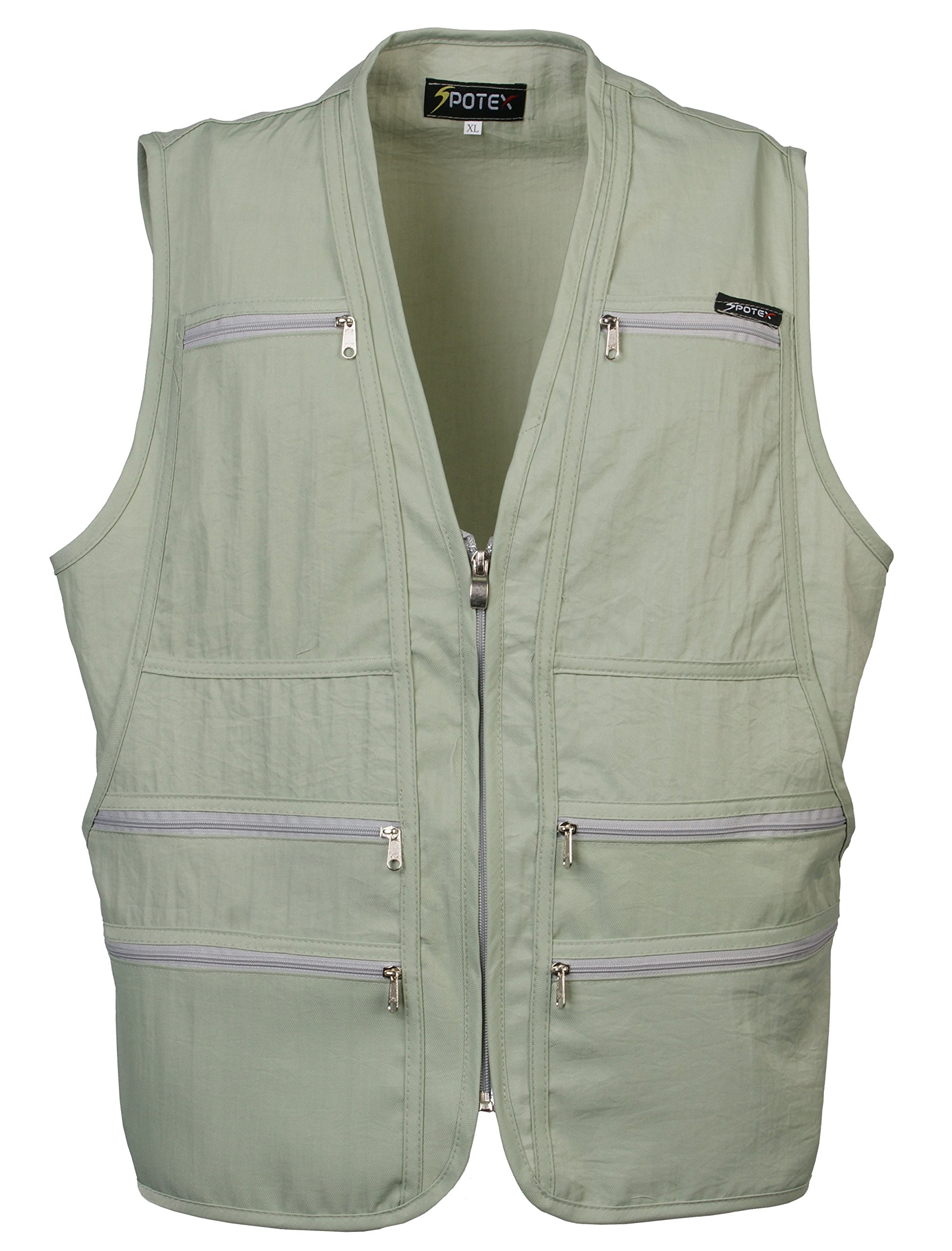 Men's 9 Pockets Work Utility Vest Military Photo Safari Travel Vest (L, Laurel Green)