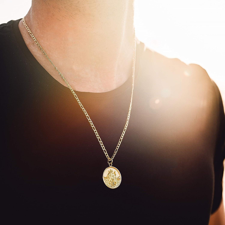 Twistedpendant Gold 22 Saint St Christopher Round Pendant Charm Medal